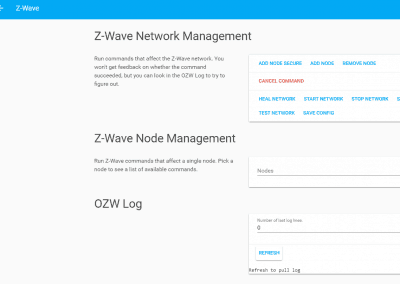 Home Assistant interface - Zwave Management